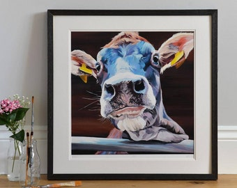 Cow Print - Jersey Calf -  Limited edition- Jody - Lauren Terry - Cow  Face - Country Art - Ear Tags