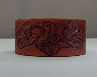 Leather Cuff by Artrix Leather and Fine art -Hibiscus Flowers