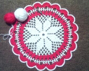 D-35(7). Two-tone Doily MANDALA  White - Pink Crochet Round Doily Lace Doily Hand Crocheted Lace Doily