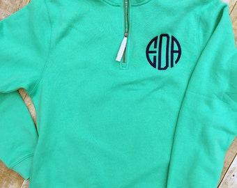 Monogrammed Quarter Zip Pullover - Womens Charles River Sweatshirt - Personalized Gift - Womens Monogrammed Gift - Teen Gift