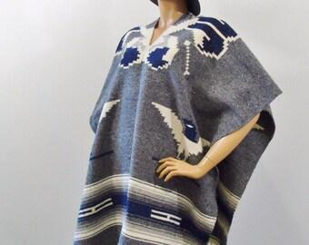 Tribal Blanket Thunderbird Serape Vintage Southwestern Boho Festival Rustic Poncho