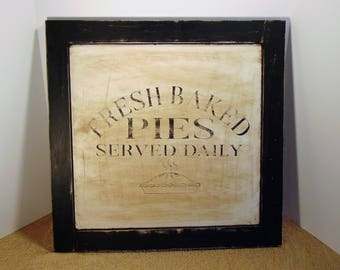 Large Handmade Fresh Baked Pies Sign, Wooden Kitchen Sign, Kitchen Decor, Bakery Sign, Farm Kitchen Sign, Rustic Kitchen Sign, Pie Sign,