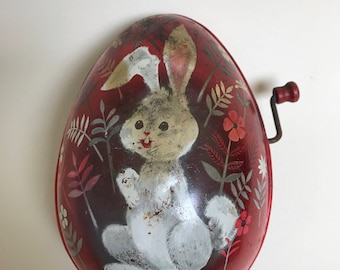 Vintage 1953 Mattel Bunny Rabbit Tin Litho music box toy wind-up