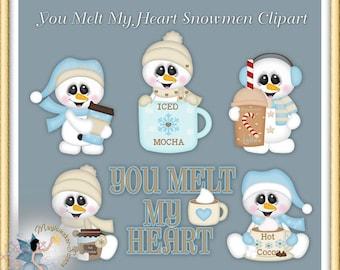 Christmas Clipart, Holiday, Winter, Snowman, You Melt My Heart