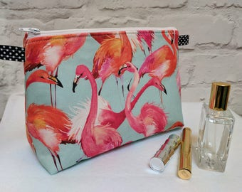 "Handmade Large Flamingo Make up Bag / Cosmetic Bag / Vanity Bag / Wash Bag. Fully lined - 25cm(10"")Wide, 18cm(7"")Tall by 10.5cm(4"")Deep"