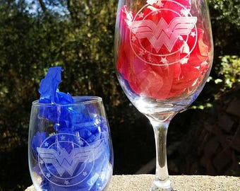 Wonder Woman Shield Laser engraved wine glass gift