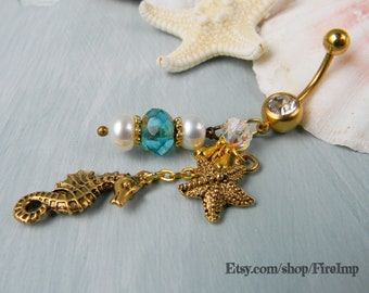 Beach Belly Ring / Starfish Belly Ring / Belly Button Ring / Belly Ring / Navel Ring / Belly Button Jewelry / Seahorse Belly Ring / Gold