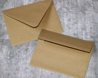 "Kraft Envelopes (25) ... A2 Size 4.25"" x 5.5"" Rustic Grocery Bag Brown Greetings Mailing Stationery Recycled Invitations Blank DIY Weddings"