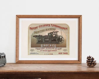 ANTIQUE POSTER  - Classic Printing Machine Poster -  High Quality Reproduction, Antique Wall Art, Antique Decor