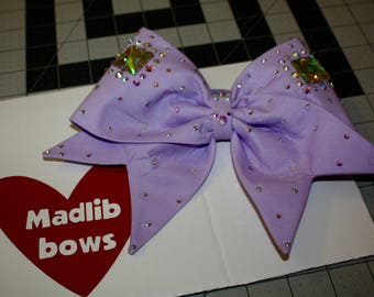Lavender Fabric cheer bow with Swarovski Crystals