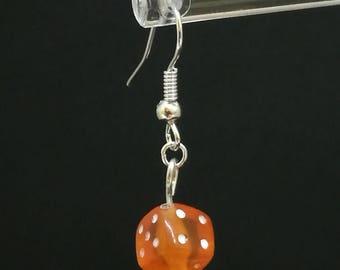 Orange single dice earrings