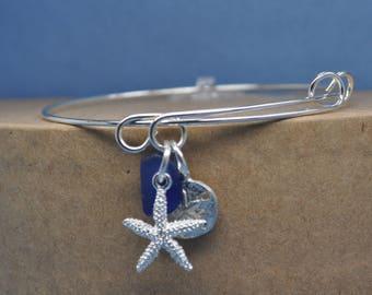 authentic sea glass adjustable bangle charm bracelet, beach themed bracelet, bangle bracelet, charm bracelet, beachcomber bangle bracelet