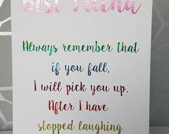 Cheeky anniversaire ou tout simplement parce que carte pour meilleur ami, carte de voeux vierges