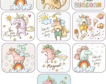 10 Unicorn stickers, party decoration party favor laminated cut and ready to use
