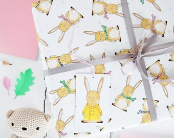 New Baby Rabbit Wrapping Paper Set - New Baby Gift Wrap - Bunny Rabbit Paper - Children's Gift Wrap - Animal Gift Wrap - Newborn Gift Wrap