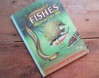 Fishes Golden Library of Knowledge Vintage Science Book