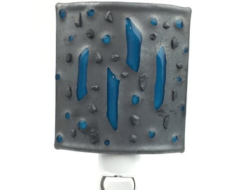 Night Light, Gray and Blue Art Glass, Contemporary Wall Plug In