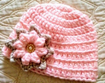 Baby girl hat, infant hat, crocheted baby girl pink hat