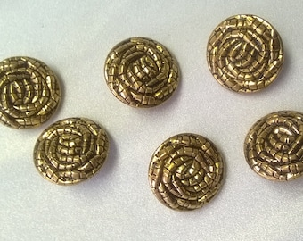 """New 25 mm Gold Metal Shank Buttons 1"""" - 6 pieces"""