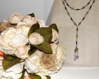 Long Beaded Charmed Necklace