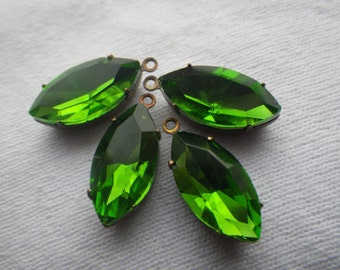 Spring Green Faceted 18x9mm Navette Drops 4 Pcs