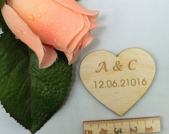 Heart engraved 5 cm wide wedding heart Personalized