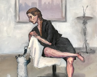 """Woman and a Cat original painting 20""""x24"""""""