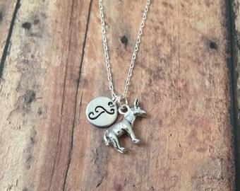 Donkey initial necklace - donkey jewelry, silver donkey necklace, farm necklace, donkey jewelry, burro necklace, farm animal jewelry