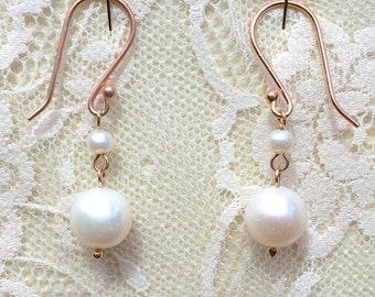 Edwardian Downton Abbey Jewelry 24k Rose Gold Vermeil & Freshwater Seed Pearl Dropper Earrings - Truly Venusian
