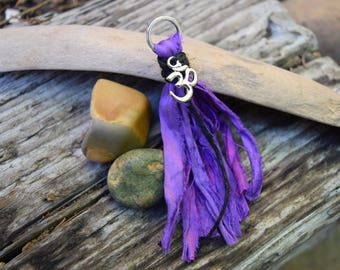 Mala Tassel, Sari Silk, Silver Ohm, Handmade Tassel, Purple, Jewelry Crafts, DIY