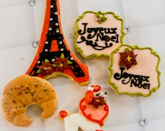 One dozen French-themed Christmas cookies