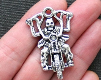 Large Biker Charm Antique  Silver Tone - SC2567