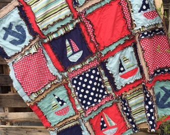 BOY RAG QUILT, Nautical Baby Quilt - Red / Mint / Navy - Anchor Baby Quilt - Nautical Baby Quilt - Baby Boy Quilt Boat - Sailboat Baby Quilt