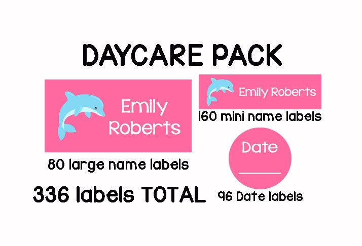336 personalized waterproof dishwasher safe name labels sippy cup baby bottle name stickers baby girl daycare pack pink dolphins