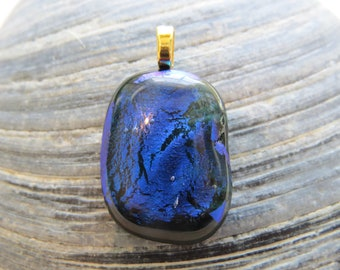 0085 - Blue and Green Dichroic Fused Glass Pendant