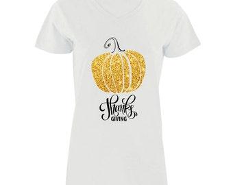 Thanks Giving Gold Pumpkin Modern Fit V-Neck Shirt