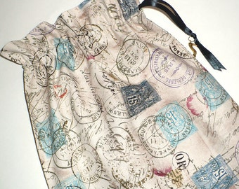 Shoe Bags, Travel,  Postmarks, Stamps, drawstring bags, cotton, storage bag, neutral, 2 reusable bags