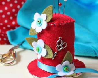 Novelty Pincushion Craft Gift, Red Hat Pin Cushion, Sewing Gift for Crafter, Handmade Pincushion Felt Ornament, Craft Room Decor