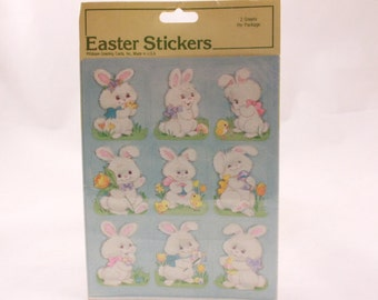 Vintage Gibson White Easter Bunny Stickers. 2 Sealed Sheets