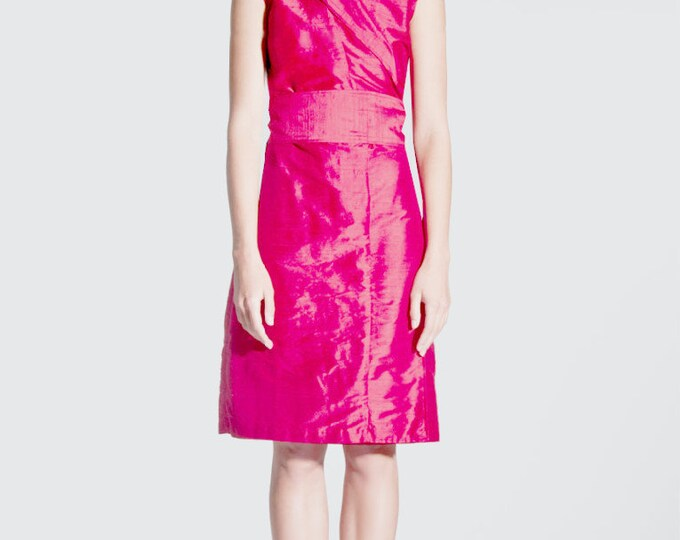 silk wrap dress in kimono style INDIAN PINK available in many red tones