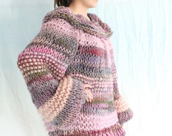 king sized purple and pink mohair sweater