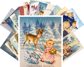 Postcards Set 24pcs * Vintage Christmas Greeting Cards Little Angels CE5011