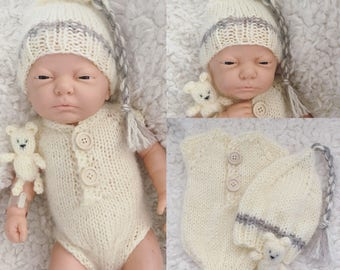 Newborn size knit romper,long tail tassel hat, bear,photo prop,gift,coming home,bonnet,alpaca blend