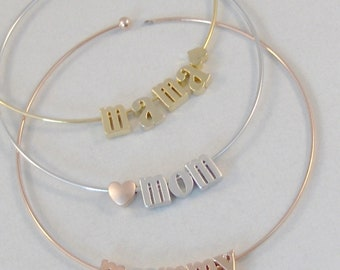 Personalized Initial Mommy Bracelet,Rose Gold Letter Bracelet Custom Bridesmaid Gift Silver Bracelet Personalized Wedding  Monogram Gift Her