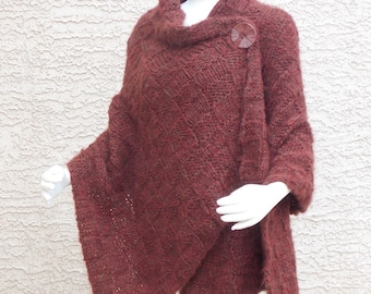 Handmade Hand Knit Rust Red Shawl, Knitted Wrap, Hand Knit Cape Divinely Soft Outerwear Plus Sizes Available