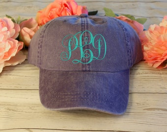 Distressed Custom Embroidered Monogram Hat | Vine / Circle / Script Monogrammed Baseball Cap / Personalized Low Profile Baseball Hat