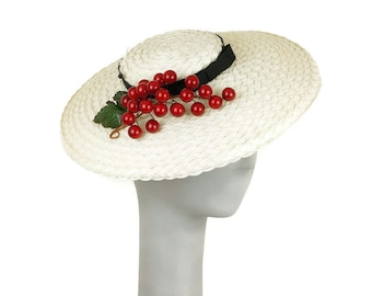 Straw Boater Hat for Women, Occasion Hat, Bunch of Cherries, Straw Hat, Wedding Hat, Fascinator Hat, Ladies Hat, Mother of the Bride Hat