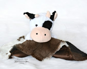 Cow Lovey with Plush Toy or Organic Wooden Teething Ring ~ Cow Print Faux Fur & Satin Baby Blanket ~ Cow Bubba, Satin Lovey