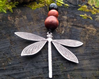 Pendant necklace Dragonfly and beads