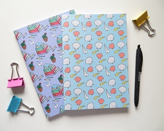 Stack of Books & Seashells - Blank A5 Notebooks - Pack of 2 Journals - Pattern